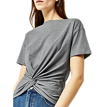 Buy Warehouse Knot Front T-Shirt, Light Grey Online at johnlewis.com