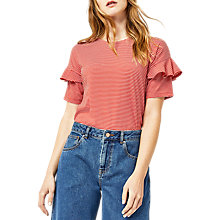 Buy Warehouse Stripe Frill Sleeve T-Shirt, Red Online at johnlewis.com