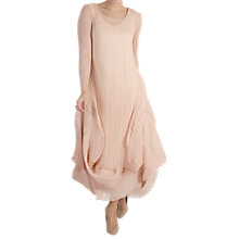 Buy Chesca Pleat Flounce Trim Dress, Peach Online at johnlewis.com