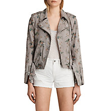 Buy AllSaints Meadow Balfern Biker Jacket, Grey Online at johnlewis.com