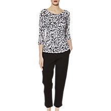 Buy Gina Bacconi Jersey Floral Print Top, White/Navy Online at johnlewis.com