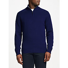 Buy Hackett London Lambswool Half Zip Embroidered Jacket, Regent Blue Online at johnlewis.com