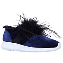 Buy Kurt Geiger Lucille Feather Embellished Slip On Trainers, Navy Online at johnlewis.com