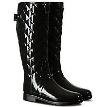 Buy Hunter Original Refined Tall Quilted Gloss Wellington Boots, Black Online at johnlewis.com