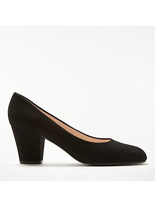 John Lewis & Partners Alma Block Heel Court Shoes, Black Suede