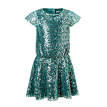 Buy John Lewis Girls' All-Over Sequin Dress, Green Online at johnlewis.com