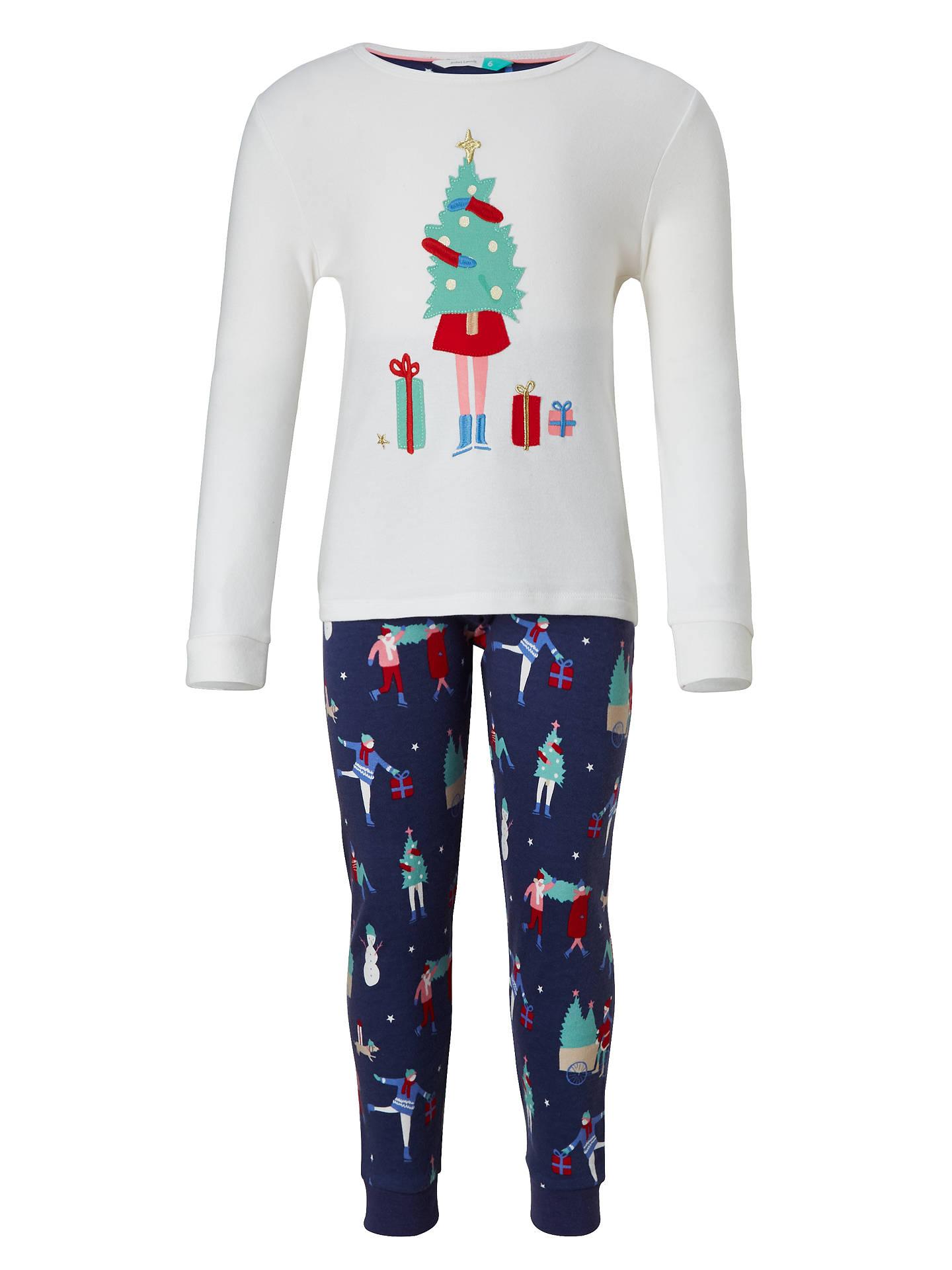 John Lewis Children\'s Christmas Scene Pyjamas, White/Navy at John ...