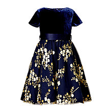 Buy John Lewis Heirloom Collection Girls' Embroidered Velvet Dress, Navy Online at johnlewis.com