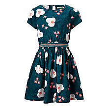 Buy John Lewis Girls' Large Floral Dress, Green Online at johnlewis.com
