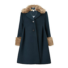 Buy John Lewis Heirloom Collection Faux Fur Trim Formal Coat, Teal Online at johnlewis.com