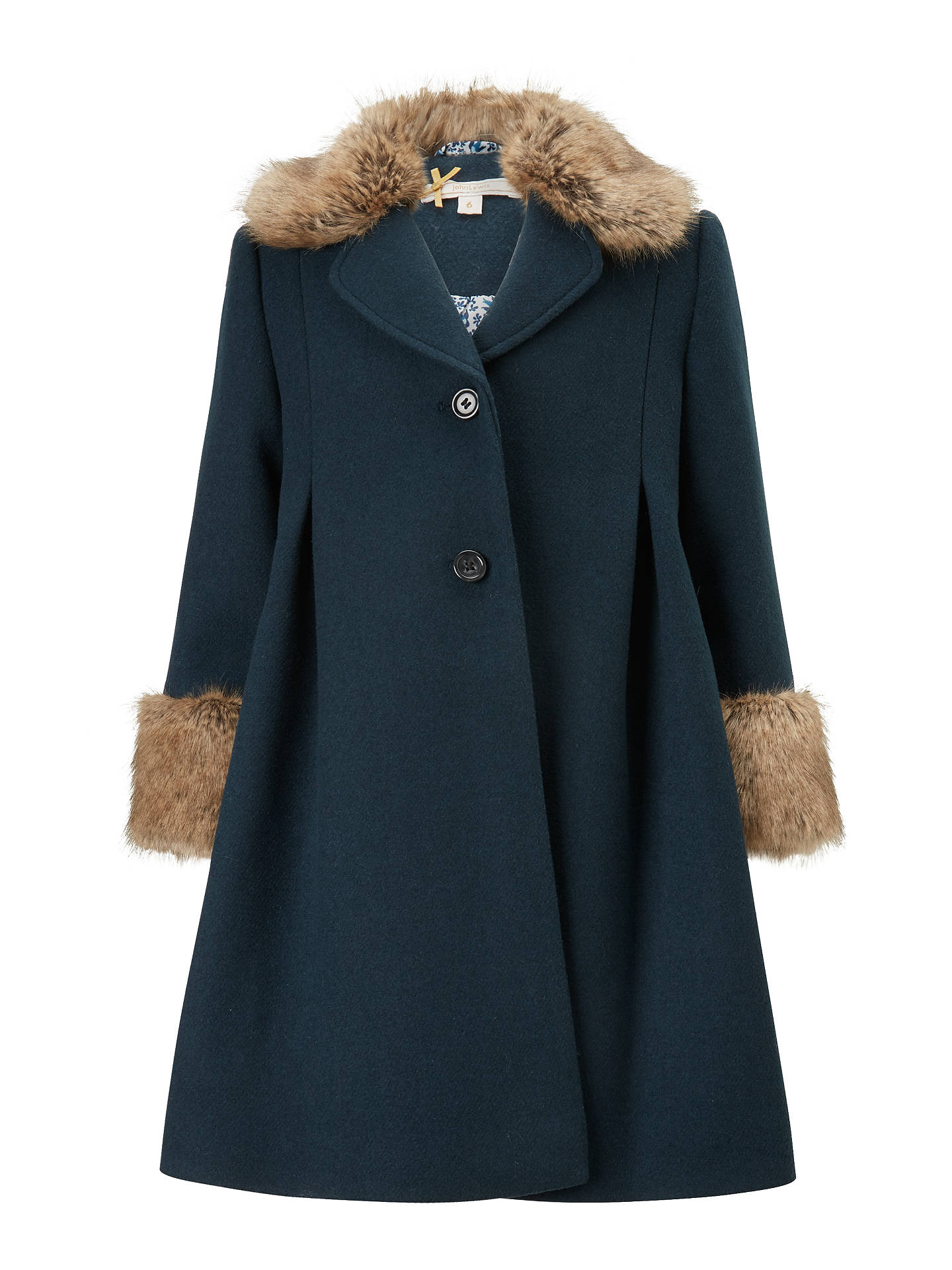 244d8ba5828 Buy John Lewis Heirloom Collection Faux Fur Trim Formal Coat, Teal, 3 years  Online ...