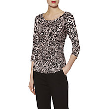 Buy Gina Bacconi Floral Print Jersey Top, Black/Pink Online at johnlewis.com