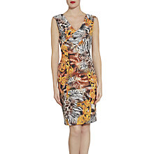Buy Gina Bacconi Abstract Jungle Print Sleeveless Jersey Dress, Gold Online at johnlewis.com