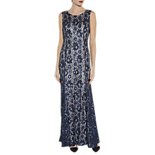 Buy Gina Bacconi Beaded Lace Maxi Dress, Navy/Silver Online at johnlewis.com
