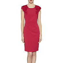 Buy Gina Bacconi Lace Trim Crepe Dress, Poppy Online at johnlewis.com