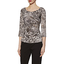 Buy Gina Bacconi Snake Print Jersey Top, Black/Grey Online at johnlewis.com