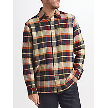 Buy John Lewis Barrett Flannel Large Check Shirt, Beige/Green Online at johnlewis.com