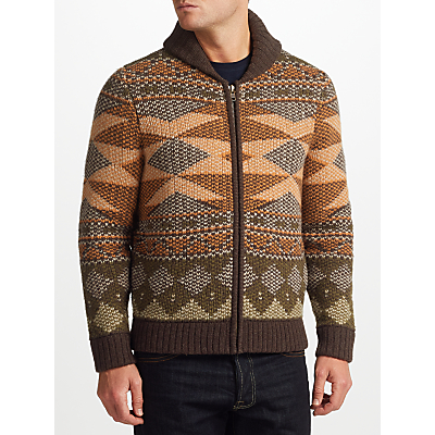 Product photo of John lewis co aztec knit full zip cardigan multi