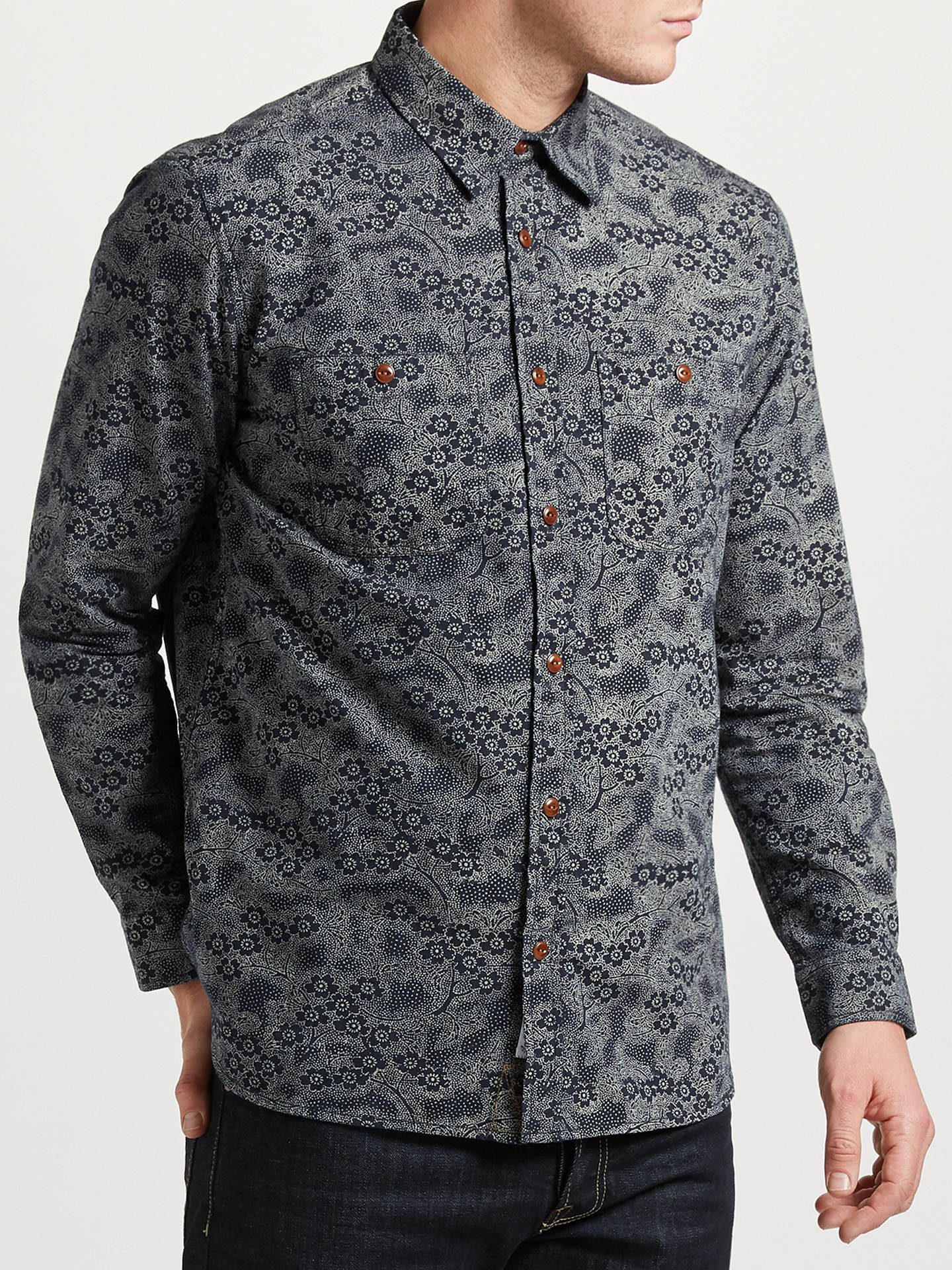 BuyJOHN LEWIS & Co. Floral Print Shirt, Navy, S Online at johnlewis.com