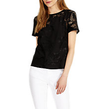 Buy Phase Eight Teela Broidery Top, Black Online at johnlewis.com
