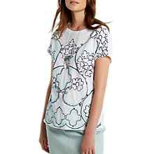 Buy White Stuff Perfect Embroidered Jersey T-shirt, Green/Multi Online at johnlewis.com