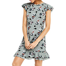 Buy Oasis Bird Bouquet Ruffle Tea Dress, Multi Green Online at johnlewis.com