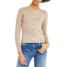 Buy Oasis Metallic Fibre Crew Cardigan, Gold Online at johnlewis.com