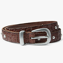 Buy John Lewis Jordan Floral Embossed Skinny Jeans Leather Belt, Brown Online at johnlewis.com
