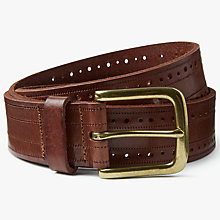 Buy John Lewis Kim Embossed Cut Out Leather Jeans Belt, Brown Online at johnlewis.com