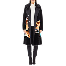 Buy Marc Cain Faux Fur Floral Print Coat, Black Online at johnlewis.com