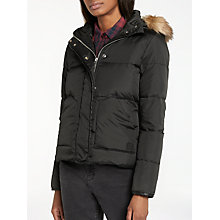 Buy Lee Faux Fur Trim Hooded Padded Jacket, Black Online at johnlewis.com