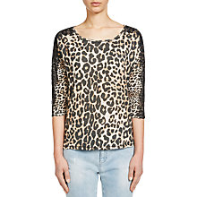 Buy Oui Leopard Print Lace Jersey Top, Black/Camel Online at johnlewis.com