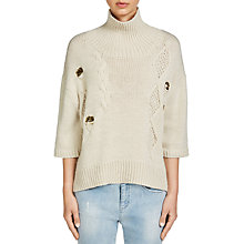Buy Oui Sequin Rib Detail Jumper, White Cap Grey Online at johnlewis.com