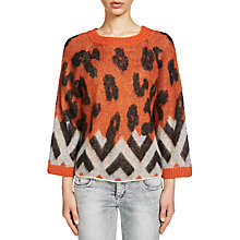 Buy Oui Boxy Animal Print Jumper, Dark Orange/Grey Online at johnlewis.com