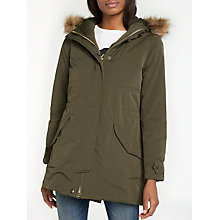 Buy Lee Faux Fur Trim Urban Parka Jacket, Army Green Online at johnlewis.com