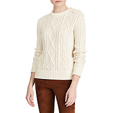 Buy Polo Ralph Lauren Aran Knit Sweater, Cream Online at johnlewis.com