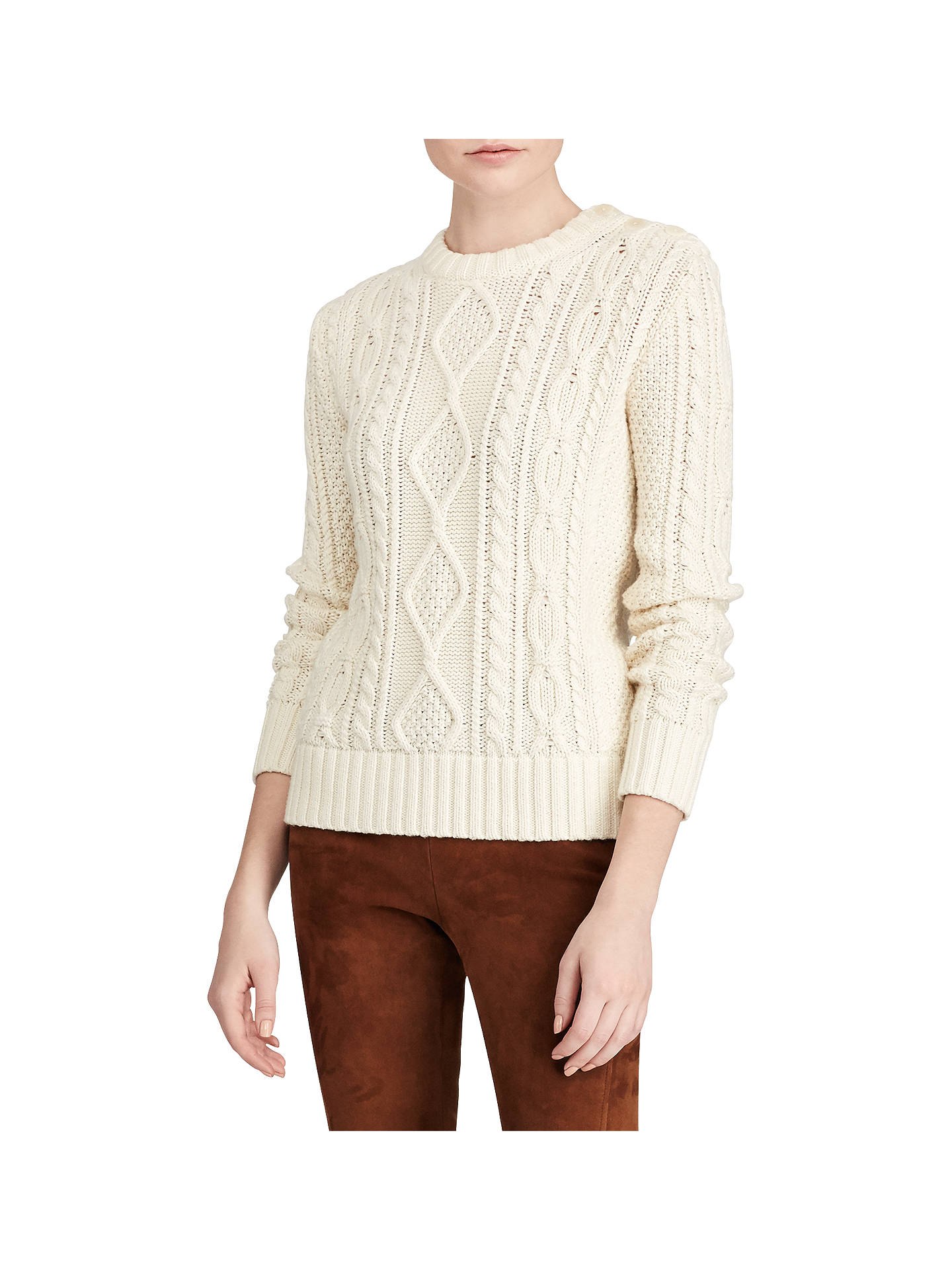 e92db97358 Polo Ralph Lauren Aran Knit Sweater, Cream at John Lewis & Partners