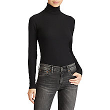 Buy Polo Ralph Lauren Ribbed Turtle Neck Jumper, Polo Black Online at johnlewis.com
