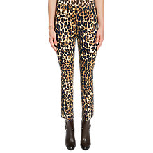 Buy Oui Leopard Print Flared Trousers, Black/Camel Online at johnlewis.com