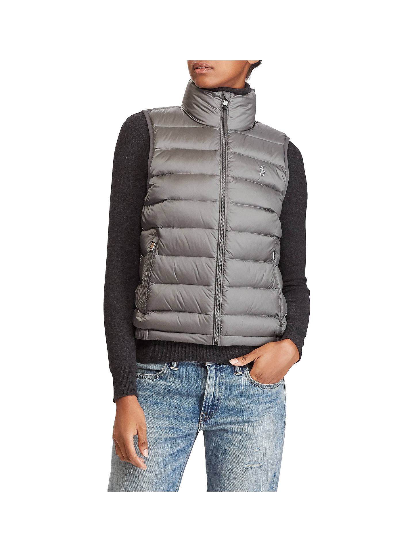 be84adb16 Polo Ralph Lauren Packable Quilted Down Gilet, Magnum Grey at John ...