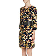 Buy Oui Leopard Print Dress, Black/Camel Online at johnlewis.com
