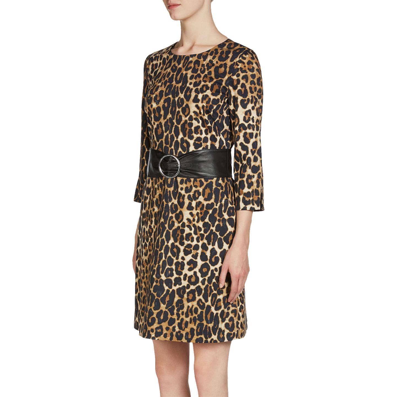 Oui Leopard Print Dress Black Camel at John Lewis