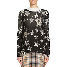 Buy Oui Star Animal Print Jumper, Black/Camel Online at johnlewis.com