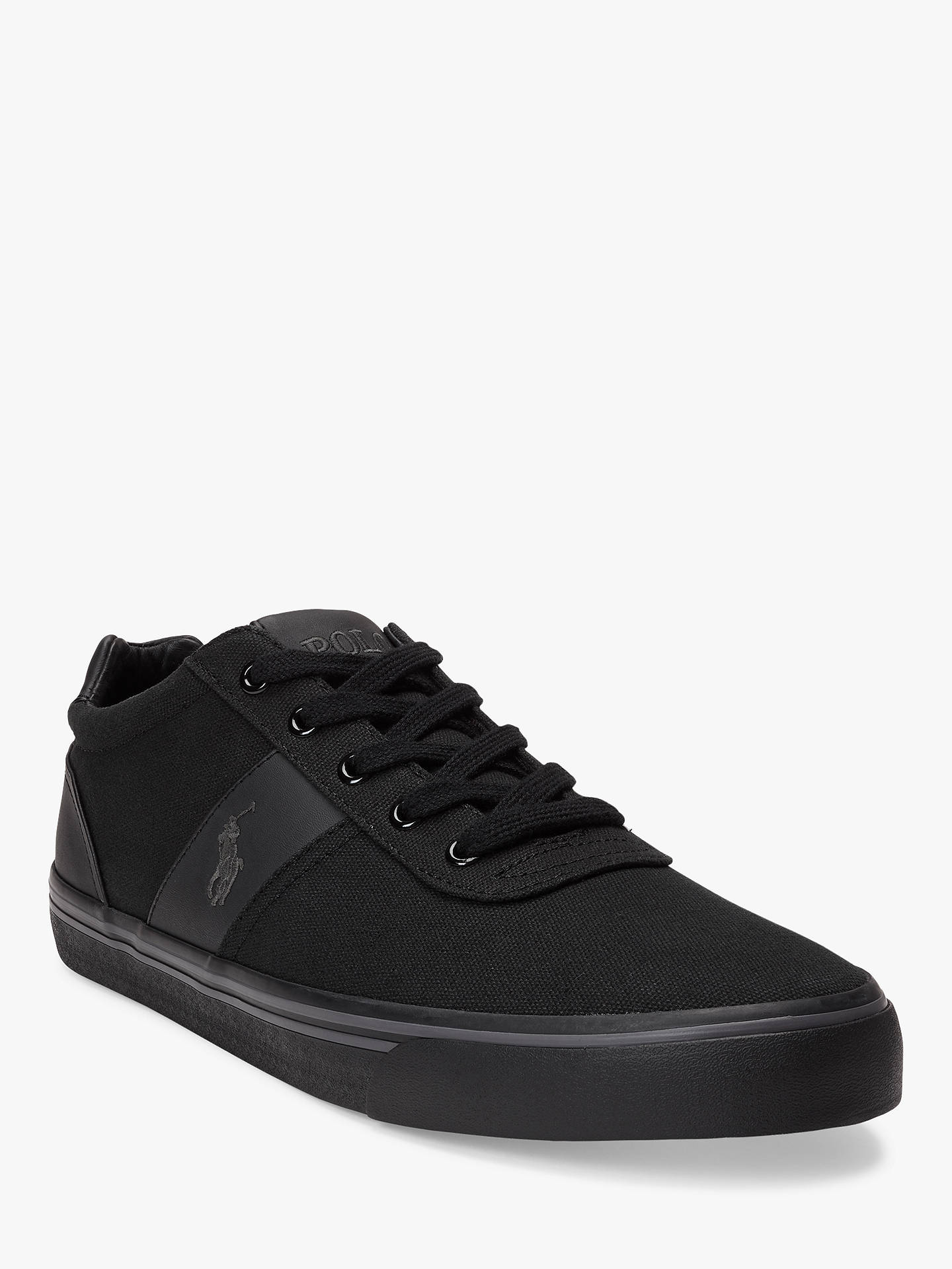 BuyPolo Ralph Lauren Hanford Canvas Trainers, Black, 7 Online at johnlewis.com