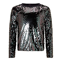 Buy John Lewis Girls' Sequin Sweatshirt, Black/Silver Online at johnlewis.com
