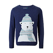 Buy John Lewis Girls' Polar Bear Knit Jumper, Navy Online at johnlewis.com