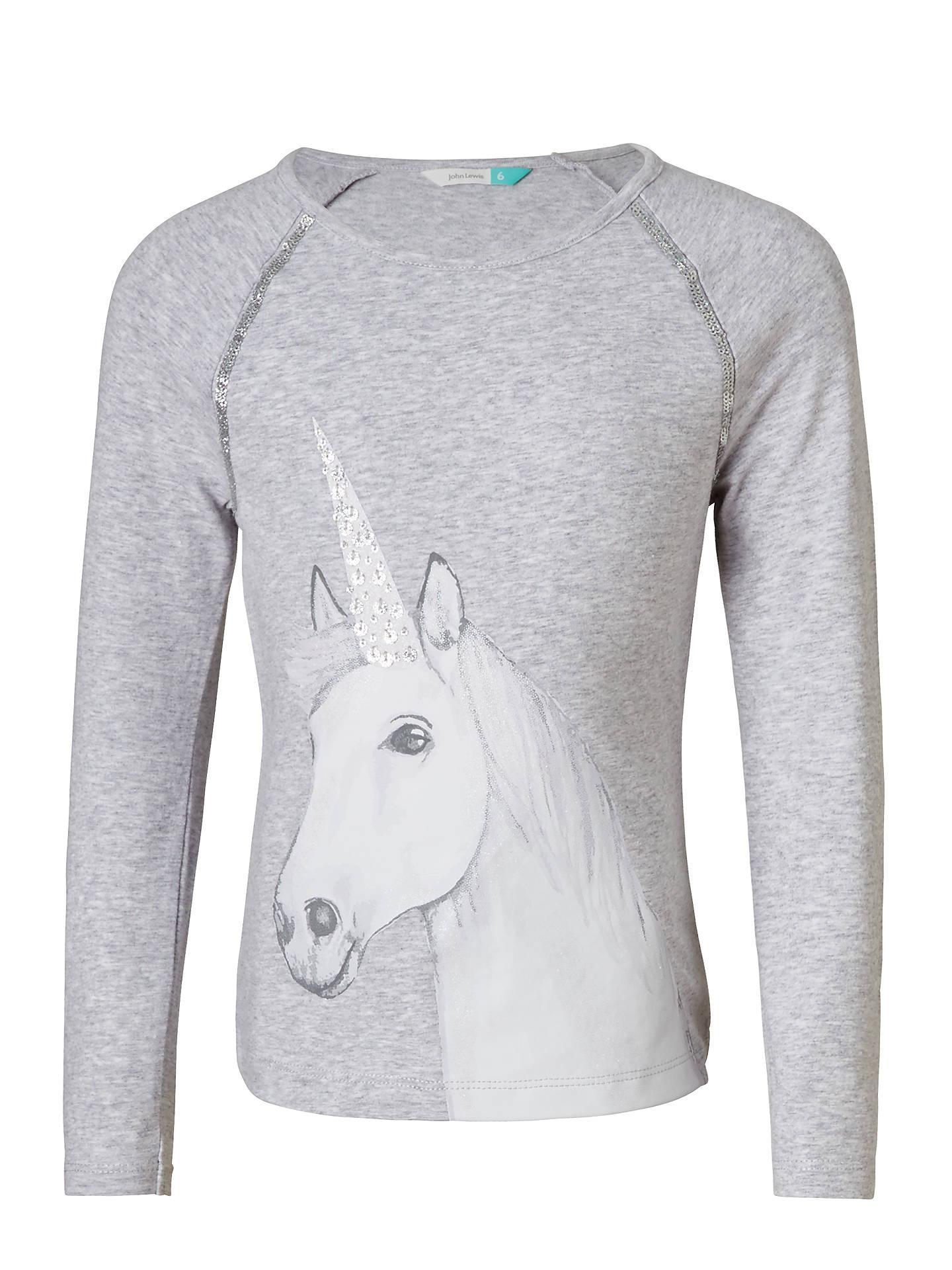 3f004ea0 John Lewis Girls' Unicorn T-Shirt, Grey Marl at John Lewis & Partners