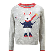 Buy John Lewis Girls' Bunny On Skis Jumper, Grey Online at johnlewis.com