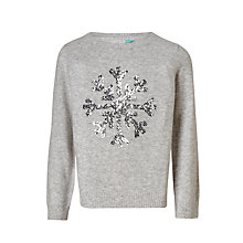 Buy John Lewis Girls' Snowflake Sequin Knit Jumper, Grey Online at johnlewis.com