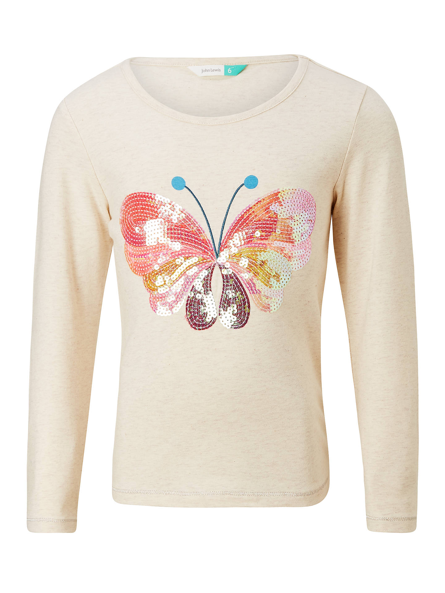 d6d59a65 Buy John Lewis Girls' Sparkly Sequin Butterfly T-Shirt, Oatmeal, 2 years ...